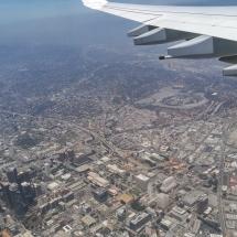 Der Flug - Anflug über Downtown L.A.