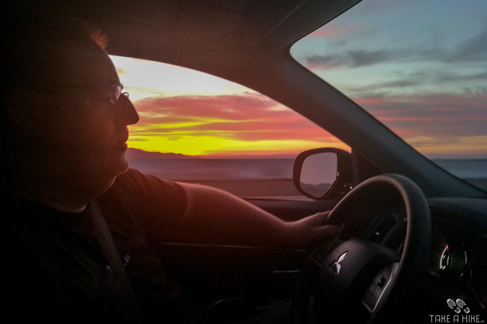 Fahrt nach Las Vegas - der Sonnenuntergang vor Barstow